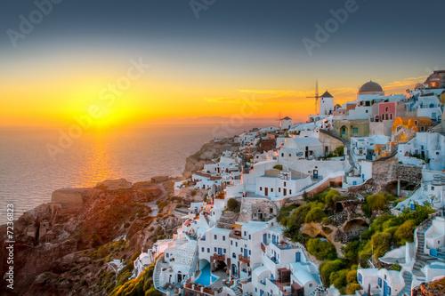 Foto-Kassettenrollo premium - Oia Sonnenuntergang (von refresh(PIX))