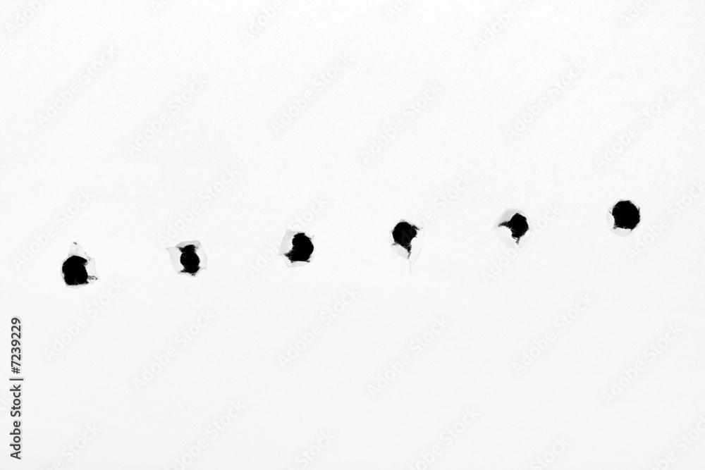 Fototapeta Holes on paper