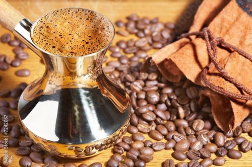 Poster Café en grains Turkish coffee pot