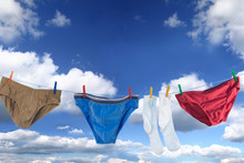 Male Underpants And Socks On A Washing Line