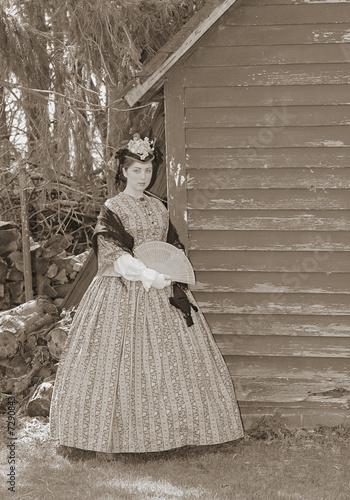 Leinwand Poster sepia toned civil war woman