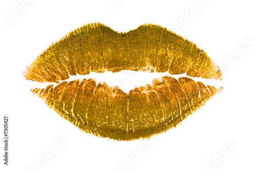 Fotografie, Obraz  Golden lips kiss