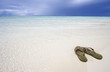 Sandals at exotic beach Maldives