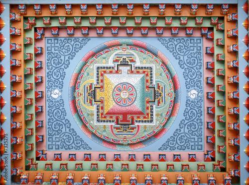 Tibetan mandala painting on monestery ceiling, Nepal Fototapet