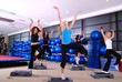 girls stepping in a fitness center
