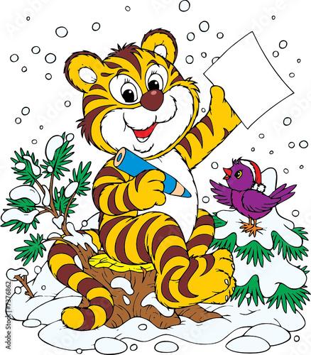 Poster de jardin Zoo Tiger and bird