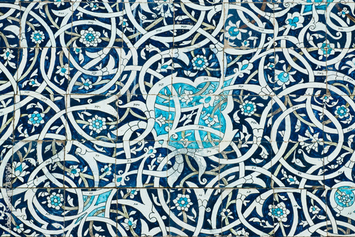 Foto Tiled background, oriental ornaments from Uzbekistan.Tiled backg