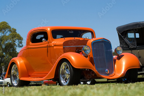 Poster de jardin Vieilles voitures Orange Hot Rod