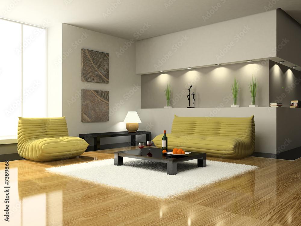 Blick auf das moderne Wohnzimmer Foto, Poster, Wandbilder bei ...