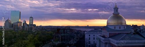 Fotografie, Obraz  suset panorama of boston