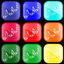 Icon Of Musical Notes On Shiny...