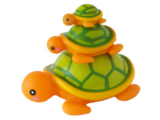 Three toy turtles