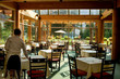 canvas print picture - Rocky Mountain restaurant by glacier lake