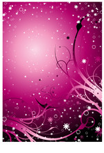 Inter Galactic Floral Background In Magenta With Stars