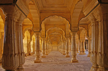 Columned Hall Of A Amber Fort....