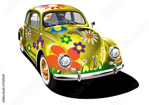 zolty-samochod-retro-w-roznokolorowe-kwiaty