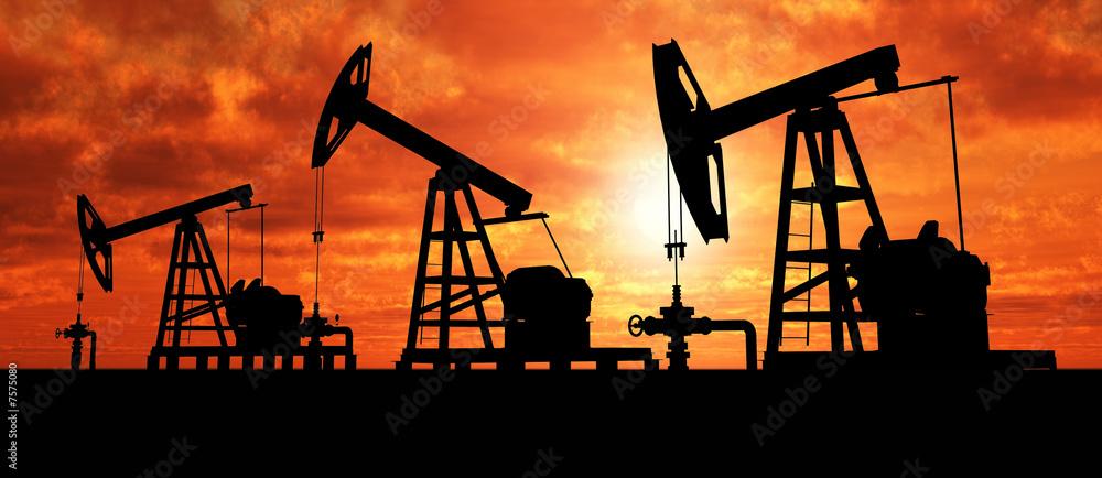 Fototapety, obrazy: Silhouette three oil pumps