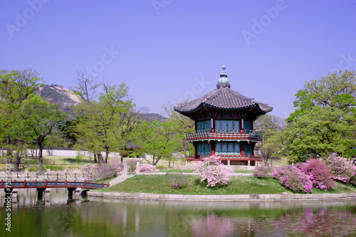 an old pavilion at Kyoungbok Palace in Seoul, Korea. Poster