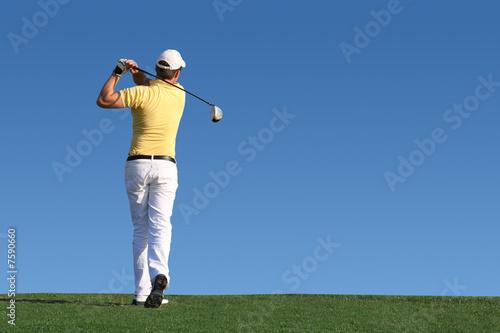 Tuinposter Golf Golf - Golfspieler beim Abschlag