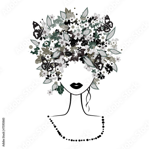 Floral femme Face woman, floral hairstyle
