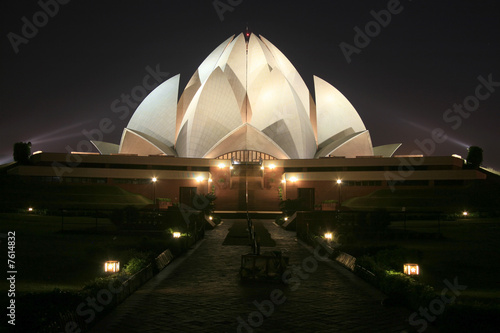 Garden Poster Lotus flower Bahai lotus temple at night in delhi, india
