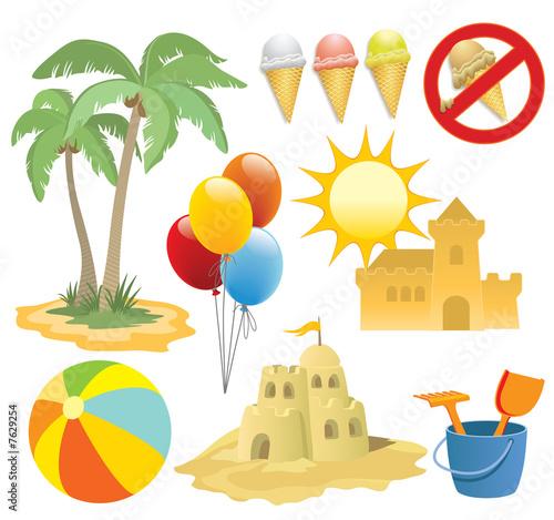Summer vacation, design elements #7629254