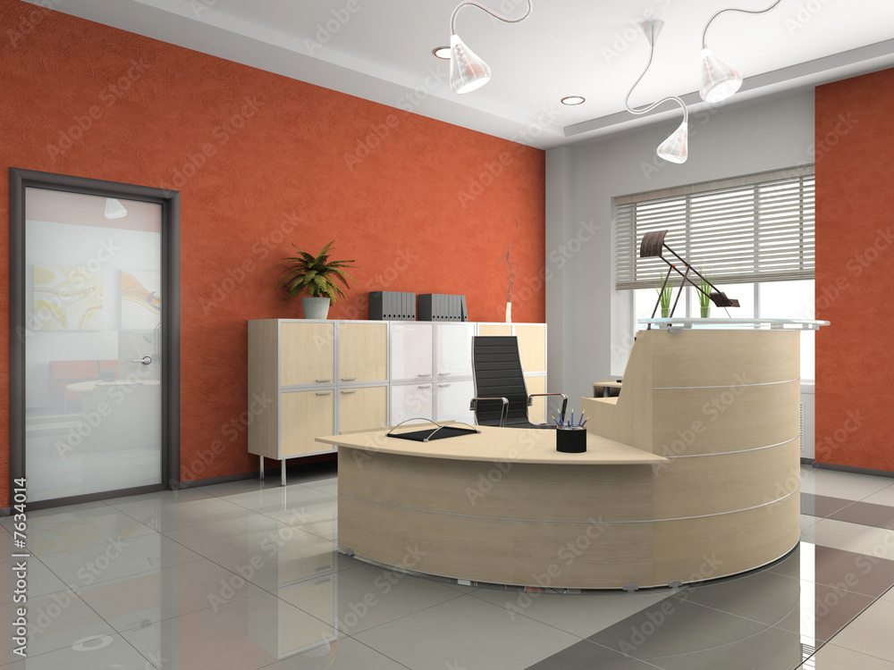 Interior of the modern reception in office foto poster