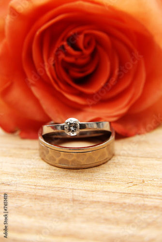 Fotografie, Obraz  Rose and wedding rings
