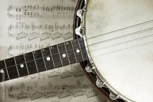 Fotografie, Tablou grunge banjo with score background