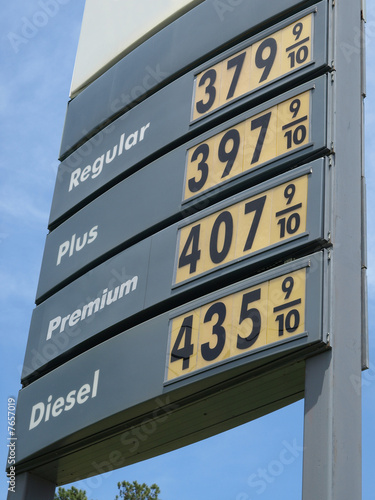 Gas Station Price Sign - Buy this stock photo and explore similar