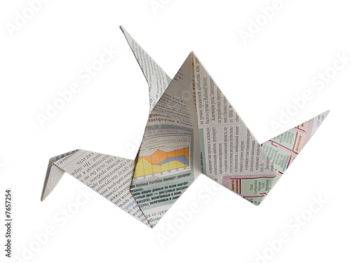 Valokuva  Newspaper origami craine