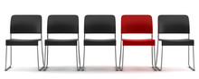 3d Red Chair Among Black Chairs Isolated On White Background