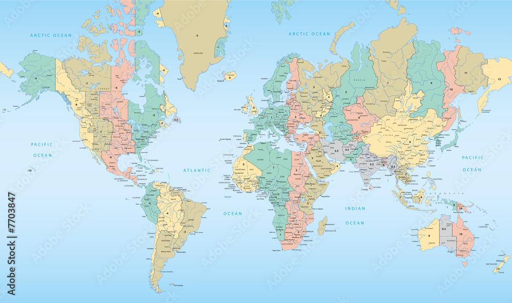 Gemälde auf Glas World map with Time Zones - Nikkel-Art.de