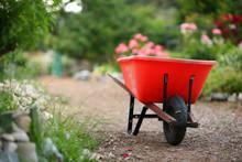Wheelbarrow In A Blooming Garden