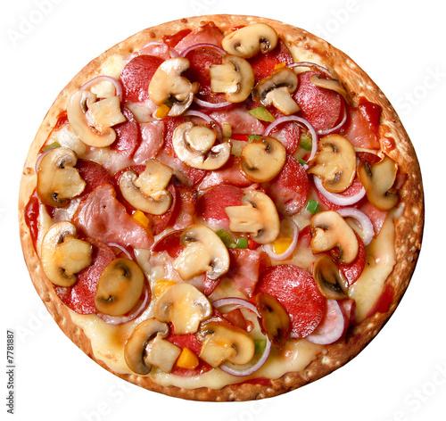 Fotografie, Obraz  Pizza,salami,zwiebeln,paprika,champignons