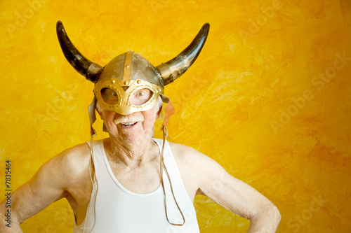 Photo  Crazy Old Man in a Viking Helmet