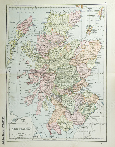 Old map of Scotland - reproduction from atlas c  1870 - Buy this
