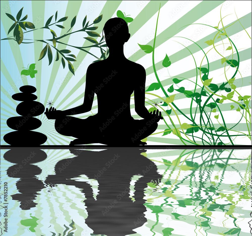Doppelrollo mit Motiv - méditation et relaxation