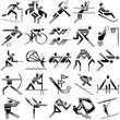 sports black tones set icons