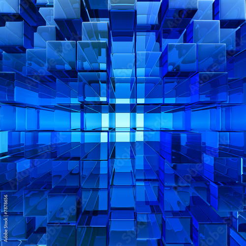 obraz PCV abstract blue cube glass background