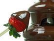 schokoladenbrunnen mit frische erdbeere