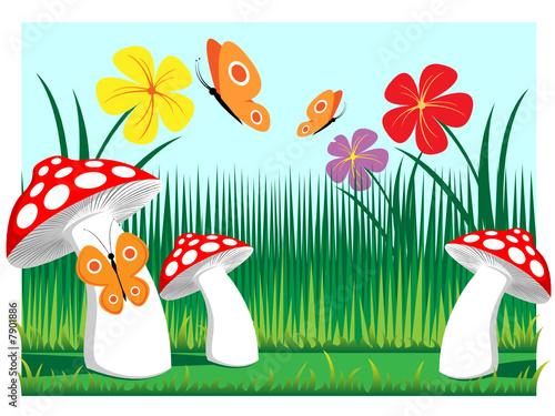 Foto auf Gartenposter Die magische Welt meadow mushrooms with butterflies and flowers