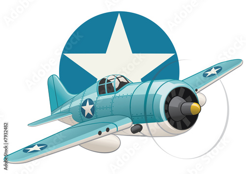 Foto-Plissee - U.S. WW2 plane on air force insignia background (von Kharlamova)