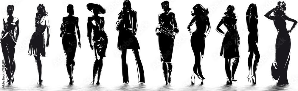 Fototapeta mode - silhouettes de femme
