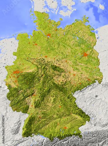 Fotografía  Reliefkarte von Deutschland mit natürlichen Farben