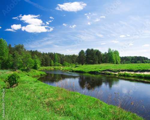 Riviere beautiful summer landscape. river and meadow