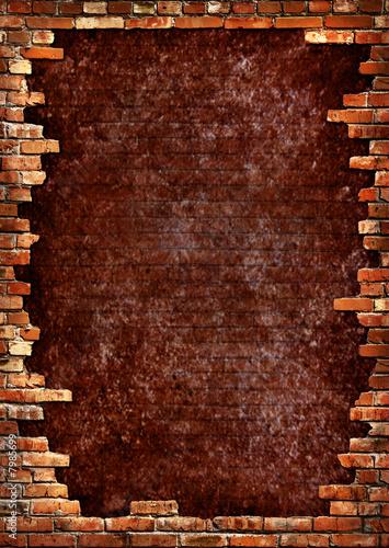 Brick wall grungy frame Wallpaper Mural