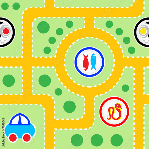 Poster de jardin Route Seamless pattern of kids toy-car road with funny signs