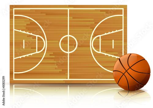 Terrain Et Ballon De Basketball Reflet Paysage Buy This