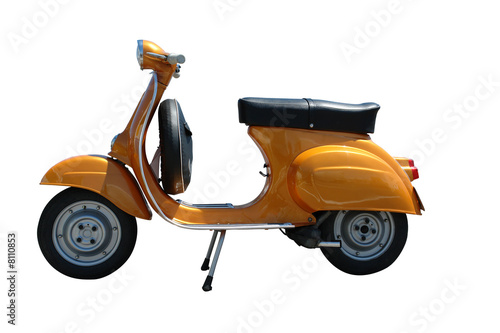 Deurstickers Scooter Vintage vespa scooter (path included)